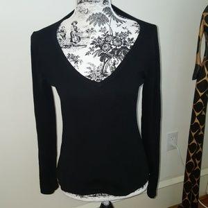 CAbi plain black v neck sweater.